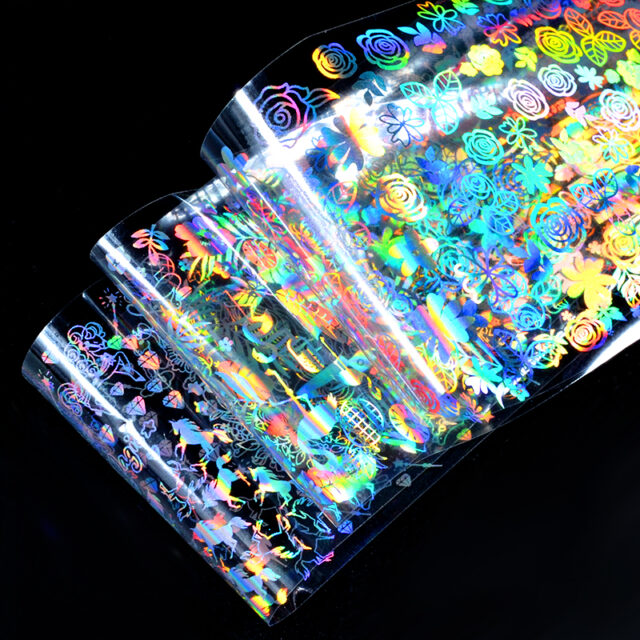Holographic Rainbow Nail Stickers 8 Pcs Set