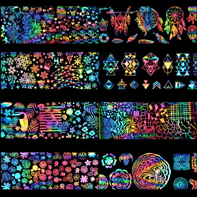 Holographic Rainbow Nail Stickers 8 Pcs Set