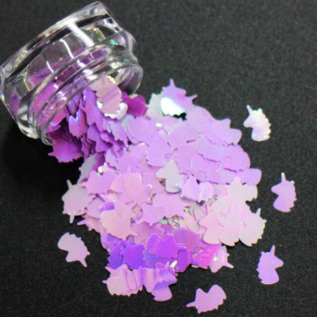 14 Colors Unicorn Shaped Nail Sequins